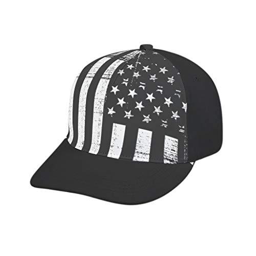 AXGM Unisex Erwachsener Kappe Weiße Schwarze amerikanische Flagge Mütze Freizeit Hut Baseball Cap mit Schirm Sommerhut für Männer und Frauen White OneSize