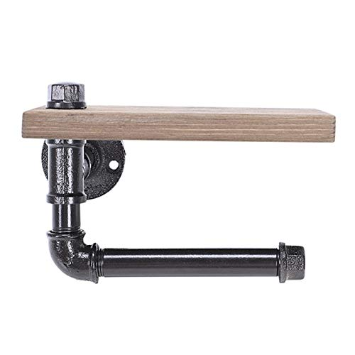 HLY-CASE Portarrollos de papel para papel higiénico multifunción con diseño retro de pipa de hierro para pared con estante de almacenamiento de madera, rac de baño retro (color negro)