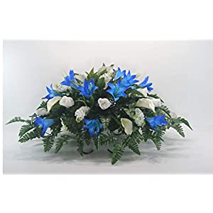 R42 Blue Lily and Roses Cemetery Flower Arrangement, Headstone Saddle, Grave, Tombstone Arrangement, Cemetery Flowers