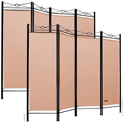 Deuba 2er Set Paravent Lucca 180x163 cm Raumteiler Verstellbar 4 TLG Trennwand Spanische Wand Raumtrenner - Rose