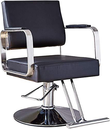 Silla de peluquería Silla de salón Silla de estilo Silla de peluquería, silla de corte de cabello giratorio hidráulico silla de peluquería profesional, gris (Color : Black)