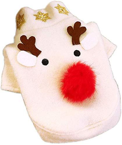 Yanyu Hundekostüm - Weihnachtstag Aktivität Kostüm, Elk, Weiß Wollmantel, Herbst und Winter Kleidung, Pet Supplies, S,L