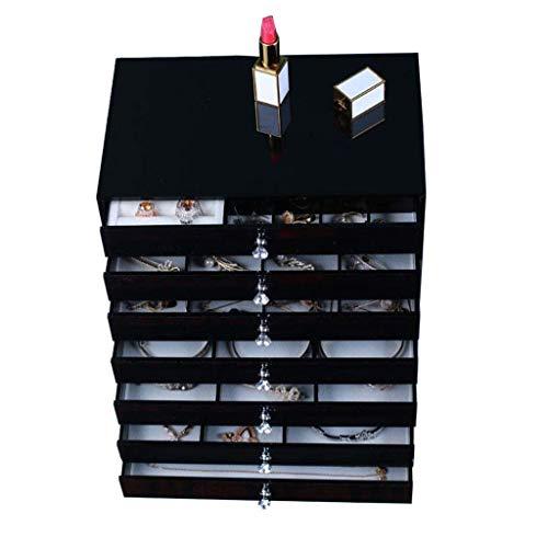 JIAJBG Organizador de joyas grande, caja de joyería de cuero para mujer, reloj collar, anillo, pulsera, caja de almacenamiento de joyas con cajones extraíbles clásico