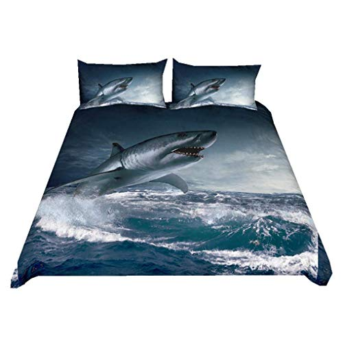 695 HNHDDZ 3D Animal Duvet Cover Shark Cartoon Geometric Structure Painted Bedding set Marine Life White Blue Pink Children Boys Girls Quilt Cover With Zip (Style 1, Double 200x200 cm)