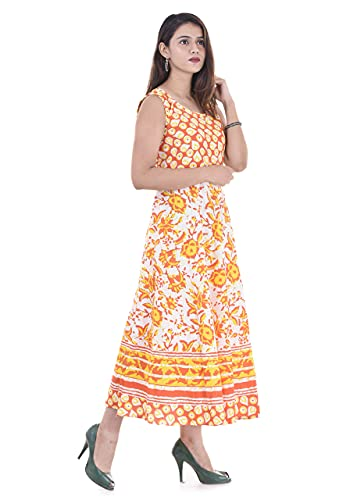 UNIBLISS Women's Cotton Rajasthani Jaipuri Traditional Floral Printed Long Midi Maxi Dress (Free Size Up to 44XL) - Yellow