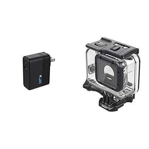 GoPro Supercharger Caricabatteria a Doppia Porta Internazionale, Nero & Super Suit Protezione Uuml;ber Custodia da Immersione per Hero6 Black/Hero5 negro