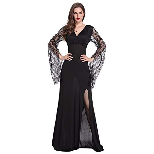 YAM DER Damen Cosplay Hexenkostüm Kostüm Halloween Gothic Kleid Langes Kleid Vampir Hexe Kleider Schwarz Partykleid Temperament Göttin Königin Kleider Maxi Kleid