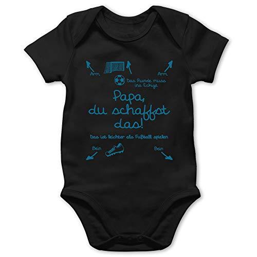 Shirtracer Strampler Motive - Papa du schaffst das Fußball Junge - 1/3 Monate - Schwarz - lustige Babykleidung - BZ10 - Baby Body Kurzarm für Jungen und Mädchen