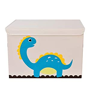 Bagnizer Large Kids Toy Storage Organizer with Flip-top Lid Foldable Fabric Toys Storage Chest/Bin/Trunk/Box/Basket for Girls and Boys Toddler Kids Nursery, 20″x14″x14″, Dinosaur