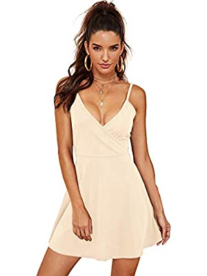 SheIn Women's V Neck Spaghetti Straps Sleeveless Sexy Backless Wrap Flare Dress