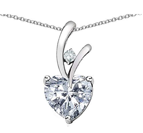 Foreverlove Plata de Ley Collar con Colgante en Forma de corazón Azul topacio simulador de corazón Amor Collar # ssnk