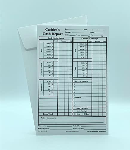 """500 Cashier Depot HW965 Cashier's Cash Report Envelopes, 6"""" x 9"""", Open End, Premium 28lb White, (Gum Flap- 500 Envelopes)"""
