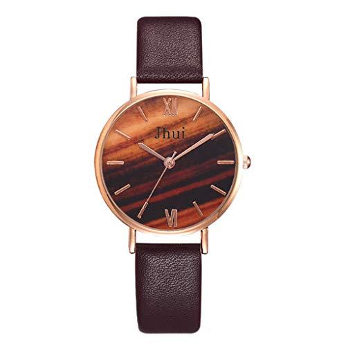 ChallengE Herren Uhren Mode wasserdichte Chronograph Quarz Uhr für Jhui Einfache dunkelgrüne Wasserfarbe Zifferblatt Lederband Damenuhr Schmuck