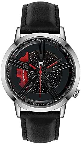 ZFAYFMA Reloj de hombre con esfera de bicicleta de carreras, diseño personalizado, reloj de piel para coche, con manos de cuarzo plateadas