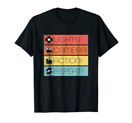 Cool Filmmaker Lights, Camera, Action T-shirt Filmmaking Tee