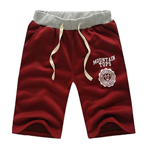 riou Pantalones Cortos Hombre Algodon Verano Shorts Vaqueros, Pantalón de Chándal con Cordones Elásticas Ajustable Cintura Bolsillos