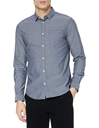 TOM TAILOR Herren Structure Regular Fit Hemd, 24493-navy Chambray with w, L