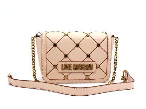 Love Moschino Clutch JC4099PP1ALP 0107 - Bolso acolchado con tachuelas, color natural (Luggage)