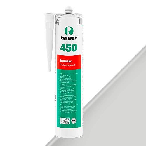 Ramsauer 450 Sanitär 1K Silikon Dichtstoff 310ml Kartusche (Silbergrau Nr. 16)