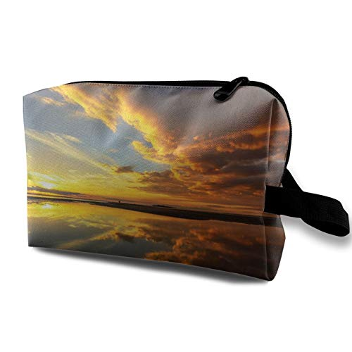 Toiletry Travel Bag Cool Sunrise On The Sea Beach Beautiful Clouds Makeup Bag for Women Girls