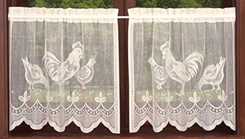 Meaning4 Tiers Curtain Set with Rooster Cock White Country Semi Sheer Knit Lace 2 pcs 30 X36 product image
