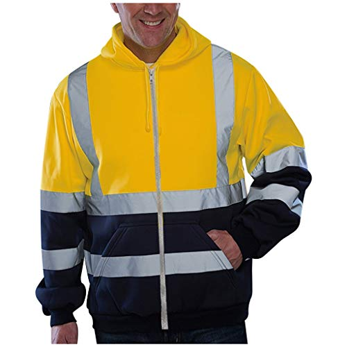 Sumen Men High Visibility Striped Duck Traditional Coat Long Sleeve Hooded Workwear Yellow