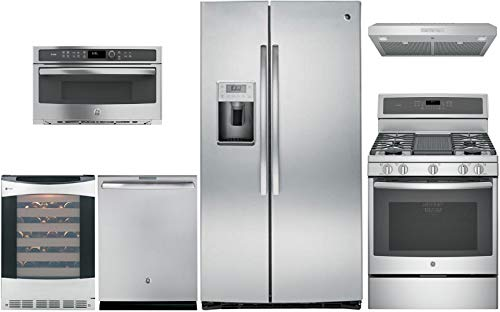 GE Profile 6 Piece Kitchen Appliance Package with 36' Side by Side Refrigerator, 30' Gas Range, 30' Range Hood, 24' Built I Dishwasher, 24' Wine Cooler and 30' Built In Microwave in Stainless Steel