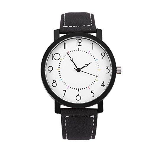 Bnineteenteam Weibliche Quarz-Armbanduhr Quarzuhr Starry Mode Uhr rundes PU-Armband großes Zifferblatt Armbanduhr Damen Uhren Frauen mit 4 Arten(Einfacher Stil)