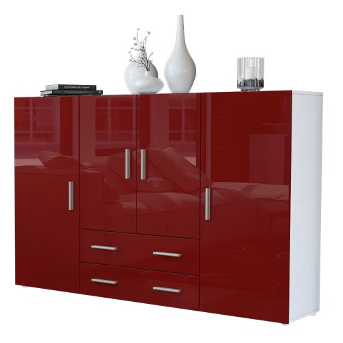 Vladon Highboard Sideboard Nora, Korpus in Weiß matt/Front in Bordeaux Hochglanz
