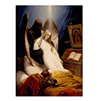 Weitaian Horace Vernet:死の天使油絵壁画キャンバス絵画額縁と版画アートワーク-20X30インチフレームなし