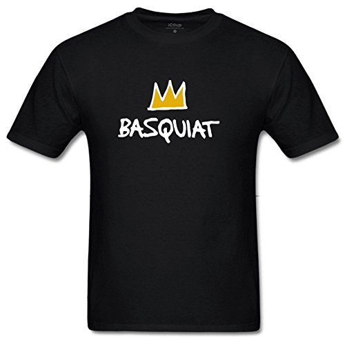 iCoup Basquiat Crown 100% Cotton Short-Sleeve Crew Neck T-Shirt for Men XXL Black