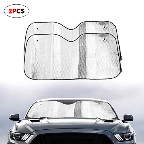 Parasole Universale, Parasole per parabrezza,Protettore Contro i Raggi UV per parabrezza auto, portatile, multiuso, pieghevole, per finestrini anteriori e posteriori, argentato, 2 pezzi
