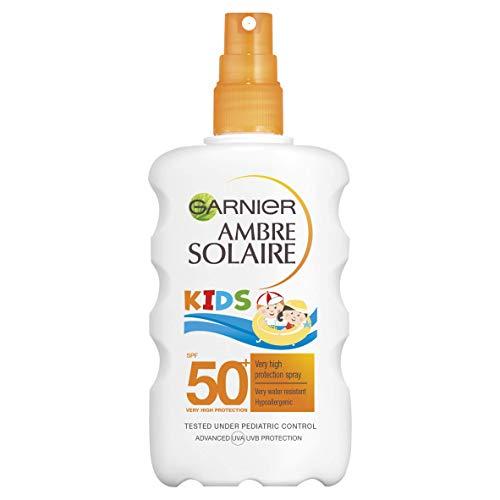 Garnier Ambre Solaire Kids Water Resistant Sun Cream Spray SPF50+, High Sun Protection Kids Suncream Spray SPF50+ 200 ml