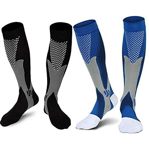 2/3Pairs Compression Socks, 20-30 mmhg Medical Sport Nursing Compression Socks for Men Women Marathon Maternity Pregnancy Flight Shin Splints Edema Varicose Veins(Men8-14in Women8-15in)