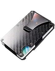 Carbon fiber Credit card holder with metal Money clip - RFID Blocking slim Metal Wallet purse for Men & Women (Carbon fiber Black)