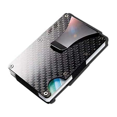 Carbon Fiber Credit Card Holder with Metal Money Clip -NFC RFID Blocking Slim Metal Wallet Purse for Men (2021 New)