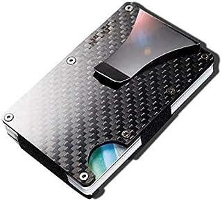 Carbon fiber Credit card holder with metal Money clip - RFID Blocking slim Metal Wallet purse for Men & Women (Carbon fibe...
