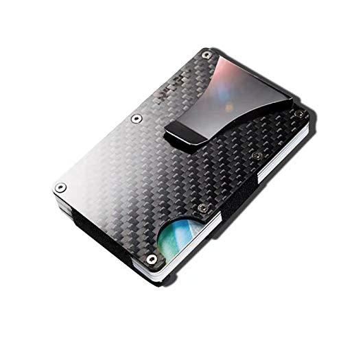 Porta carte di credito in fibra di carbonio con fermasoldi in metallo - Portafoglio RFID Blocking in metallo per uomo e donna (2019 Nuovo)