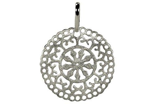SILBERMOOS Damen Anhänger Kreis Filigran Mandala Orientalisch Ornamente Kombianhänger gebürstet 925 Sterling Silber