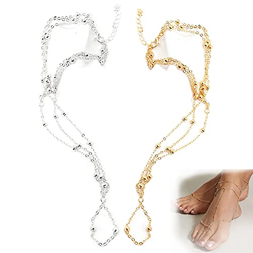 HZXY 2 pulseras hermosas descalzas, para playa, verano, sexy, tobilleras, para playa, bodas, pies, tobilleras, para sandalias, pies desnudos (oro+plata)