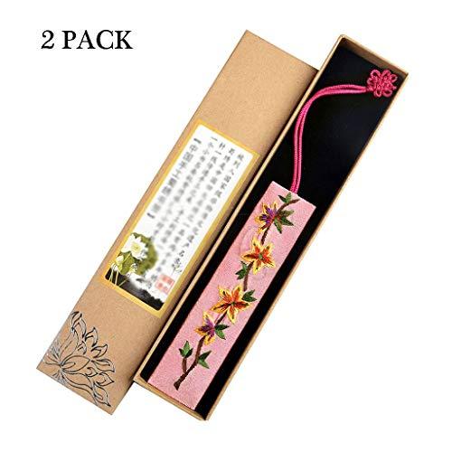 Zlw-shop Segnalibro Vintage Segnalibri Ricamati a Mano, in Stile Cinese Retro Tessuto Bookmarks, for Amici e parenti (2 Pezzi) Segnalibri