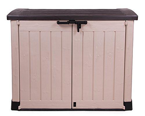 Keter Ondis24 große Gerätebox für den Garten als Gartenmöbelbox Mülltonnenbox und alle möglichen Gartengeräte Maschinen auch Poolbox Arc beige braun