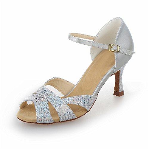 JIA JIA Y2054 Damen Sandalen Ausgestelltes Heel Super-Satin mit Pailletten Latein Tanzschuhe Silber, 39