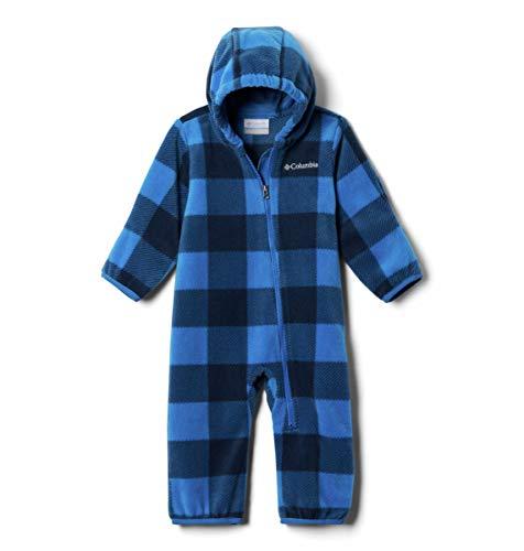 Columbia Boys Snowtop Ii Baby Bunting, Soft Fleece Sleeper, Bright Indigo Check (B) Print/Bright Indigo, 3/6