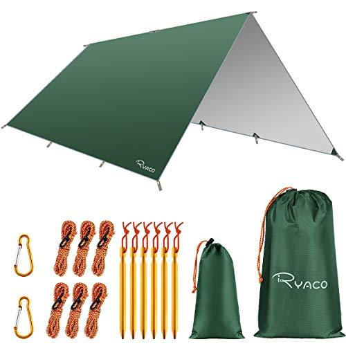 Ryaco Camping Zeltplane, 3m x 4m Tarp für Hängematte, wasserdicht Leicht Kompakt Zeltunterlage Picknickdecke Hammock für Camping Outdoor Plane für Ourdoor Camping MEHRWEG