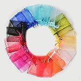 100 bolsitas de regalo para caramelos, joyas, bolsitas de organza, 10 colores...