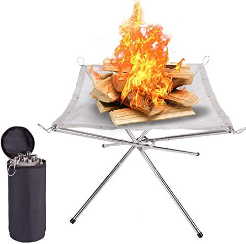 NouveLife Portable Outdoor Camping Fire Pit, Camping Stainless Steel Mesh Fireplace, Ultra Foldable Fire Pit for Patio, Camping, Barbecue, Backyard and Garden