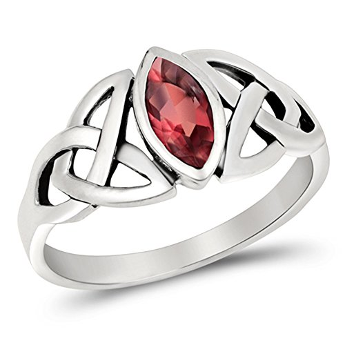 Women's Celtic Weave Simulated Ruby Cute Ring New .925 Sterling Silver Band Size 7
