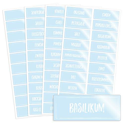 76 transparente Gewürzetiketten / Gewürzaufkleber mit weißer Kreideschrift-Optik - für Regale, Gläser oder Dosen - beschriftet, selbstklebend, auch in schwarzer Schrift erhältlich, 5,2 x 2,0 cm