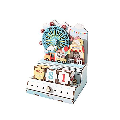 JJH Bricolaje Calendario de Madera de Adviento 2021, Adorno de Escritorio Decoración de Navidad, Reutilizable Navidad Cuenta Regresiva Calendarios Niños Niñas Regalo (Color : Sky Wheel)